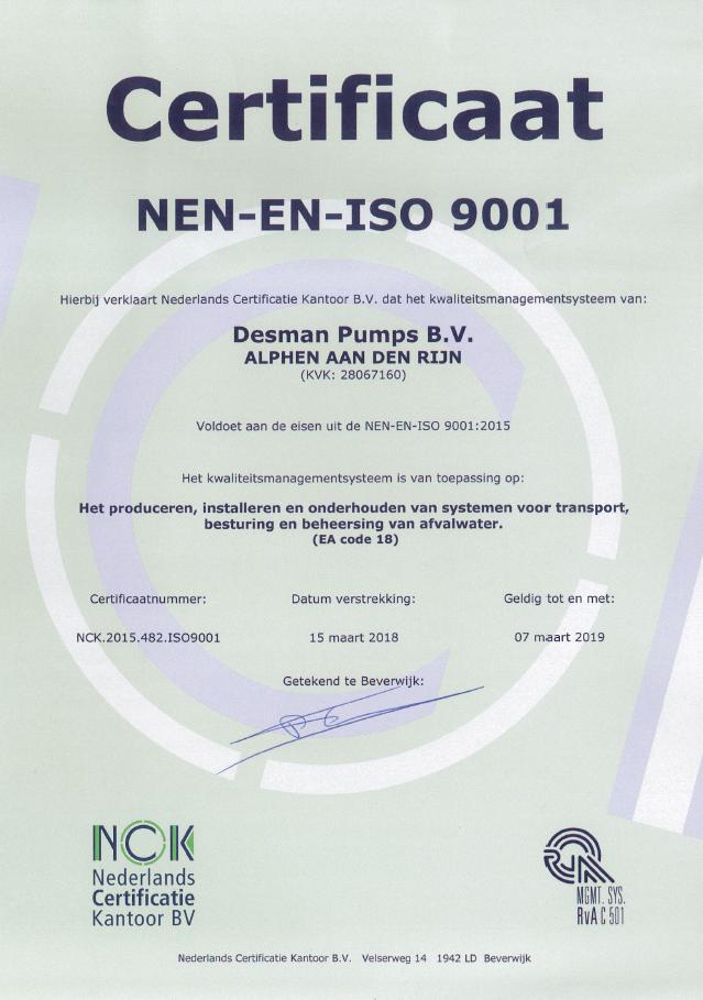 Desman Pumps ISO Certificaat