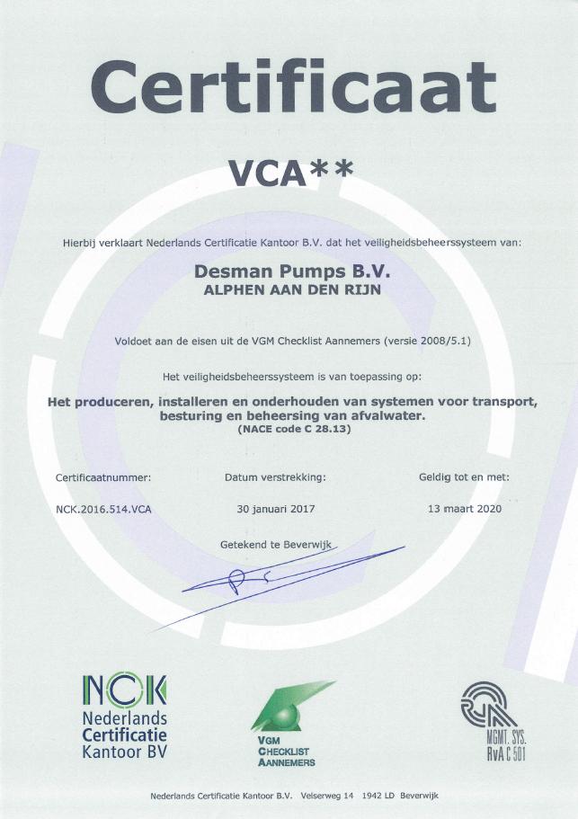 Desman Pumps VCA Certificaat